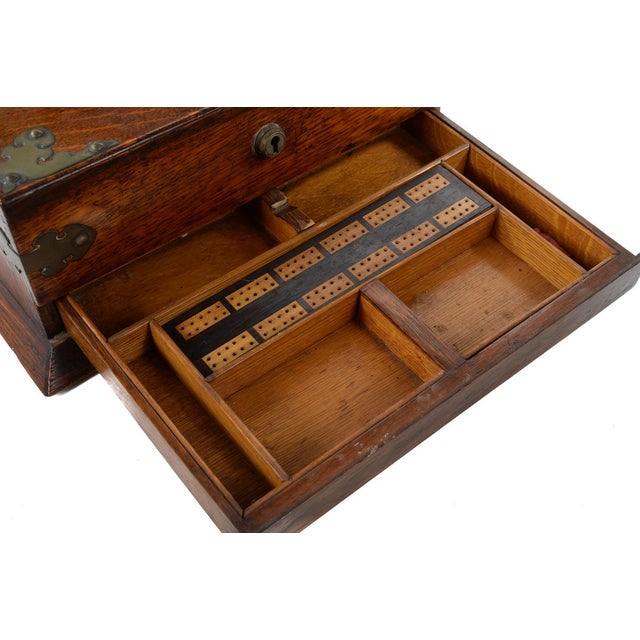 19th C Antique Captain Oak Tantalus & 3 Decanters - Image 6 of 9