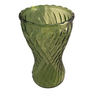 Avocado Swirl Glass Flower Vase For Sale