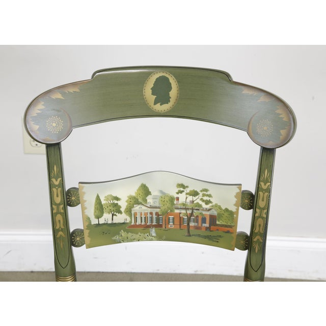 """Hitchcock Green Painted """"Thomas Jefferson's Monticello"""" Cane Seat Side Chair (B) For Sale In Philadelphia - Image 6 of 13"""