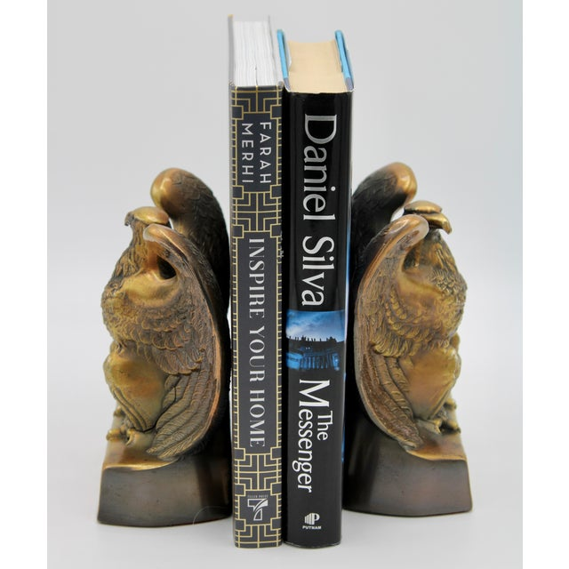 A superb pair of Mid Century American Federal Bald Eagle Bookends. A substantial pair with large wings. The eagles' talons...