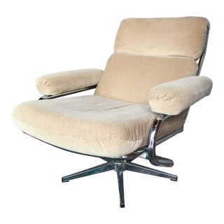 1960s Vintage Space Age Chrome Swivel Recliner Lounge Chair For Sale