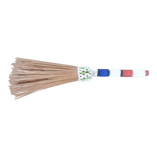 Red, White and Blue Beaded Artisanal Table Broom For Sale