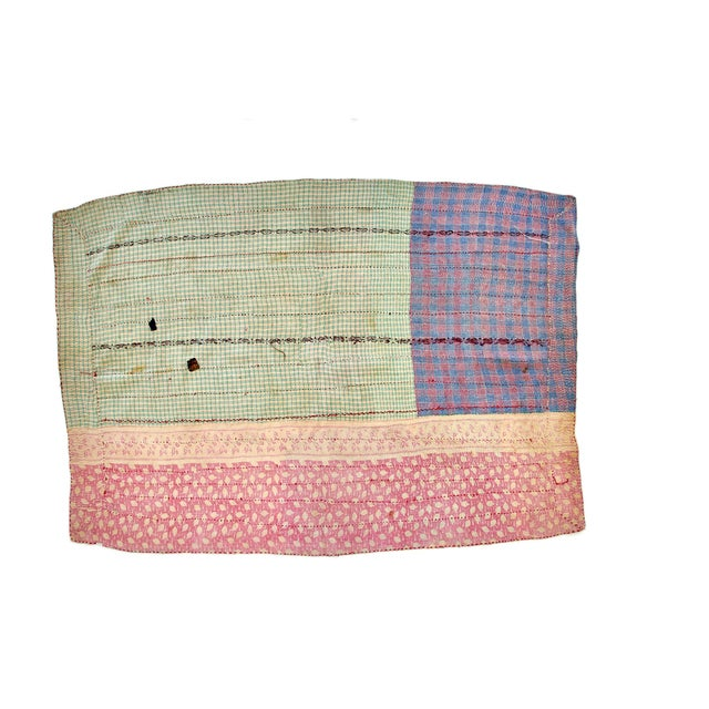 Beautiful hand-stitched double-sided patchwork Kantha throw blanket. Multi-colored design with green plaid striping and...
