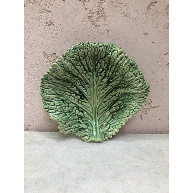 Majolica Green Cabbage Leaf Platter Sarreguemines, Circa 1930 For Sale In Austin - Image 6 of 6
