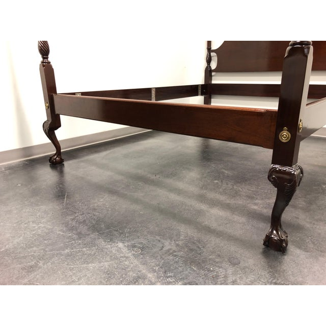 1980s Mahogany Queen Size Chippendale 4 Poster Bed W Open Talon Ball in Claw Feet For Sale - Image 5 of 13