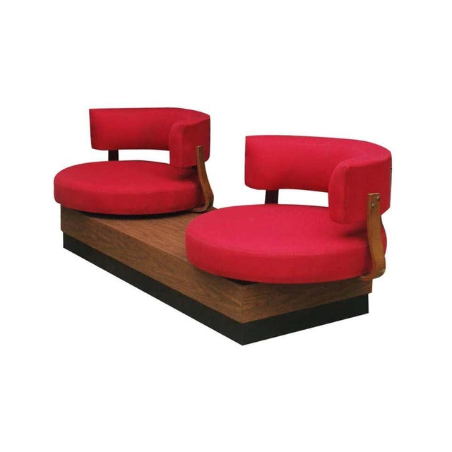 1970s Mid-Century Modern Red Swivel Lounge Chairs Sofa on Platform Base For Sale In Philadelphia - Image 6 of 8
