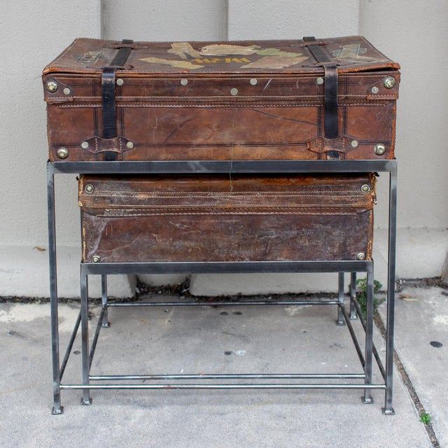 Pair of Antique English Luggage Nesting Tables For Sale - Image 4 of 13