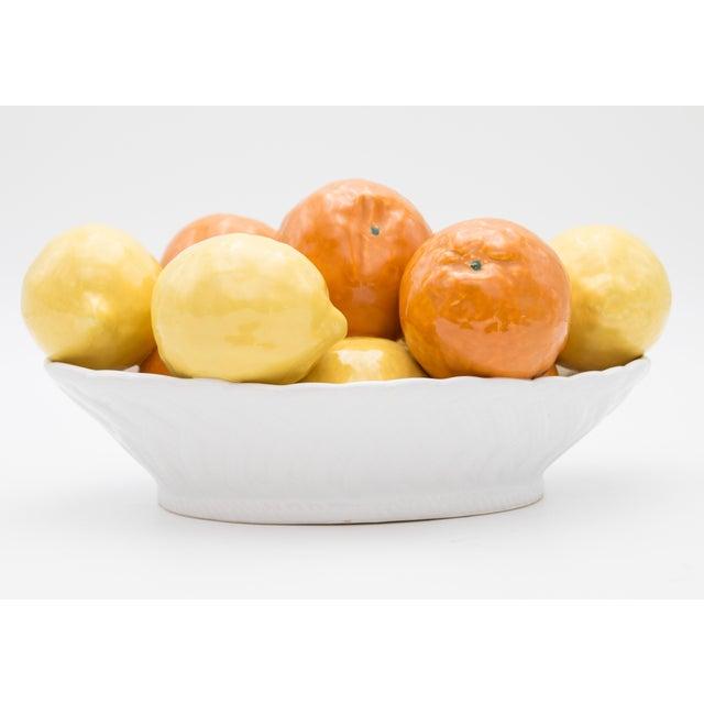 Farmhouse Vintage Italian Majolica Bowl of Lemons and Oranges For Sale - Image 3 of 8