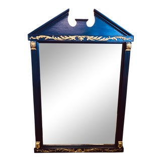 Adams Style Hand Painted Maple Mirror With Gold Painted Accents For Sale