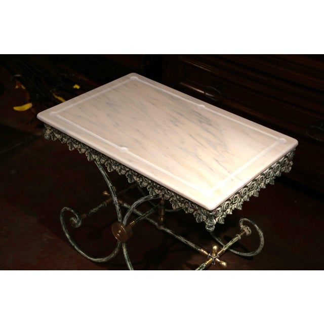 Early 21st Century Painted French Iron Butcher or Pastry Table With Marble Top and Brass Finials For Sale - Image 5 of 12