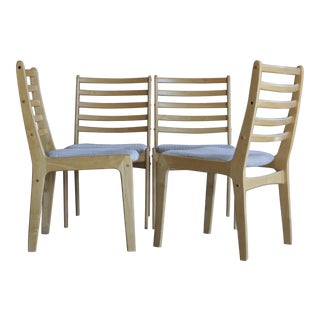Light Hardwood Danish Modern Dining Chairs, Set of 4
