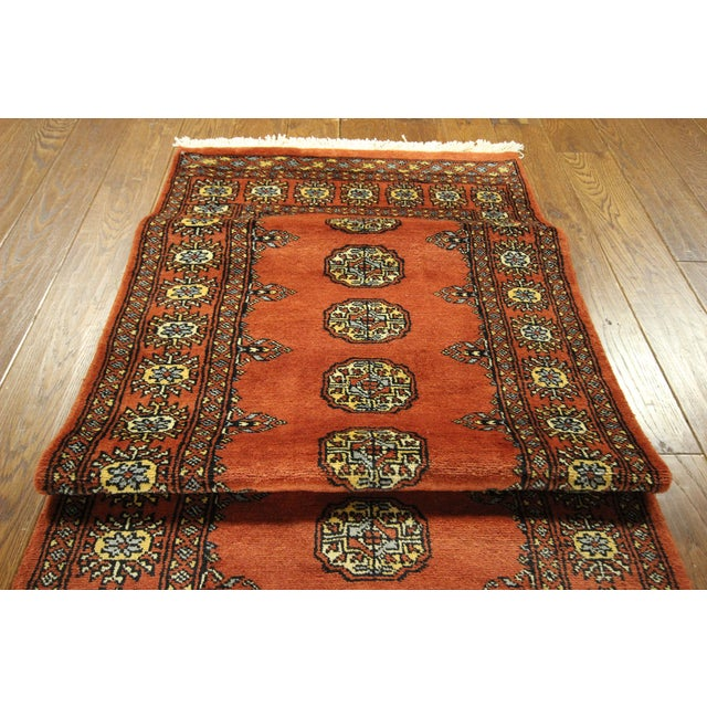 "Bokhara Orange Hand Made Wool Rug - 2'6"" x 16'1"" - Image 6 of 8"