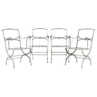 Set of Four French Neoclassical Curule Iron Garden Chairs For Sale
