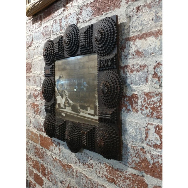 1903 Antique Tramp Art Wooden Picture Frame For Sale - Image 9 of 10