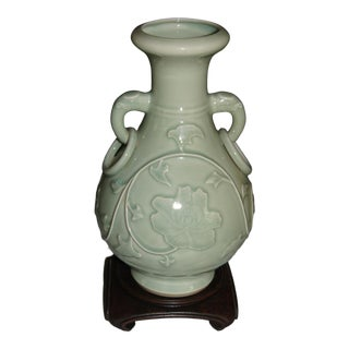Chinese Celadon Vase With Chinese Hardwood Stand For Sale