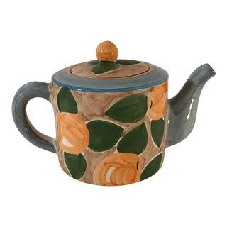 Vintage Villeroy & Boch Peach Motif Teapot For Sale