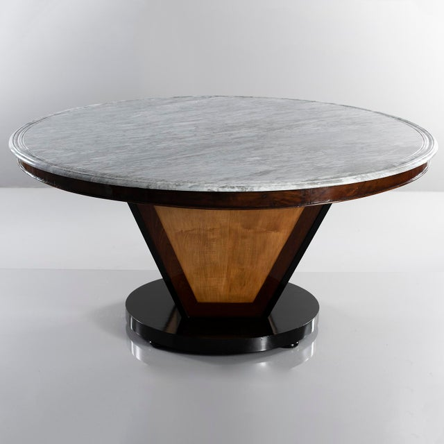 Large Deco Inspired Italian Marble Table With Custom Made Base For Sale - Image 13 of 13