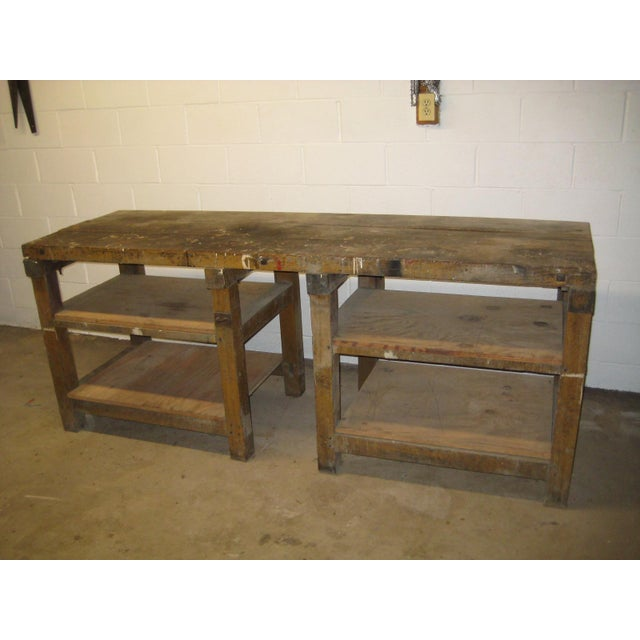 Fabulous early 1900s machine shop work bench from the Pennsylvania Railroad. The bench measures 84 inches wide 34 inches...
