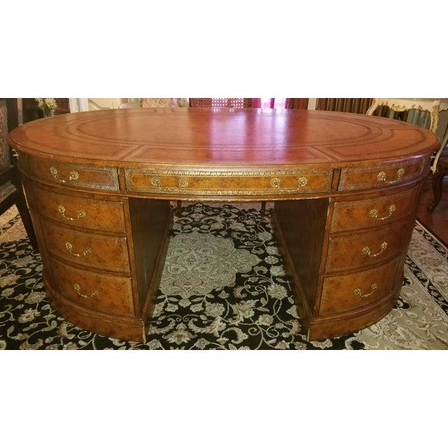 Chestnut 20th Century Regency Maitland Smith Partner Desk For Sale - Image 8 of 8