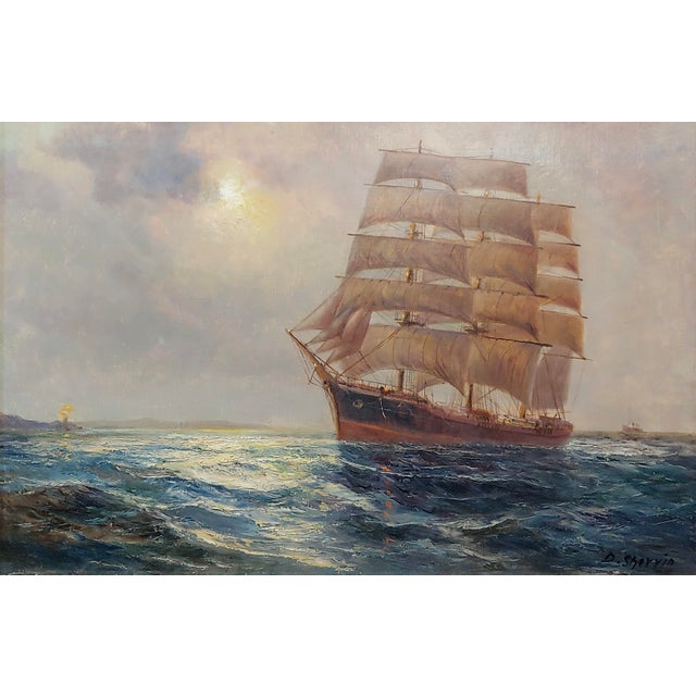 """English Daniel Sherrin the Elder """"Clipper Ship"""" Seascape Oil Painting, 19th Century For Sale - Image 3 of 10"""