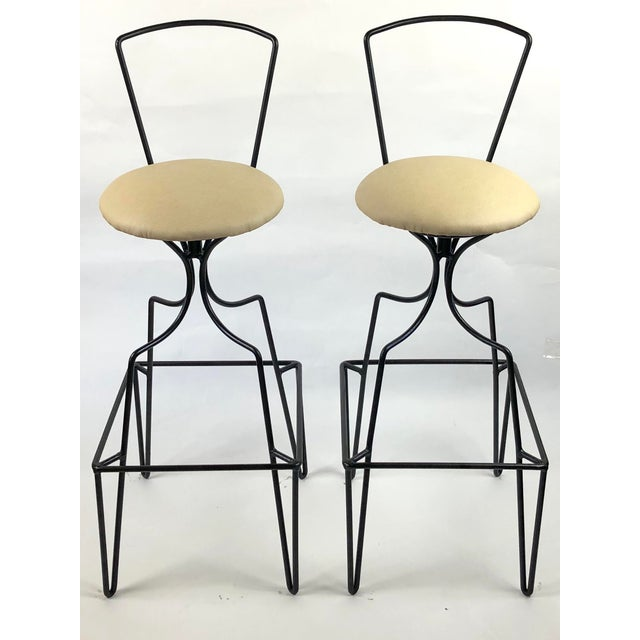 Mid 20th Century Mid Century Wrought Iron Swivel Bar Stools - a Pair For Sale - Image 5 of 10