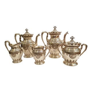 Vintage Reed and Barton Silver Plate Warrior Cameo Tea Set - Set of 6 For Sale