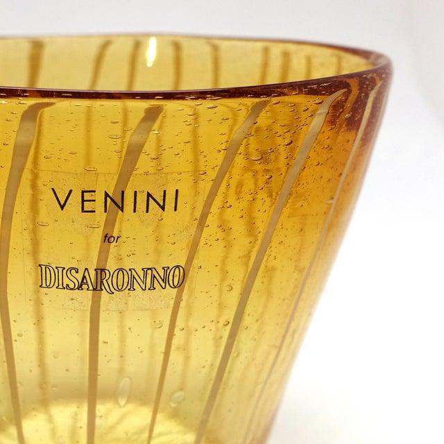 Murano, Venini & Co. Modern Venini Murano Amber Art Glass Ice Holder For Sale - Image 4 of 6