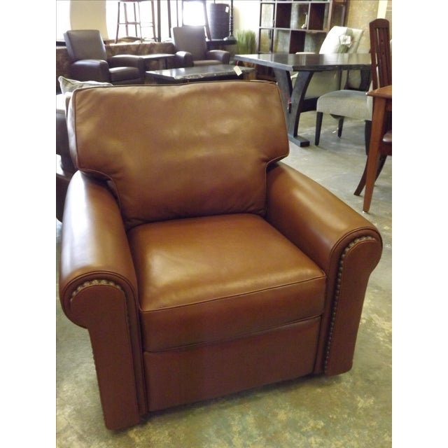 Brown Leather Swivel Recliner With Nailhead Trim - Image 2 of 5