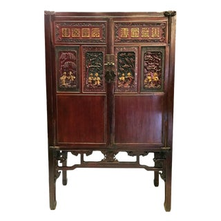 Antique Chinese Carved Gilded With Mother of Pearl Cabinet For Sale