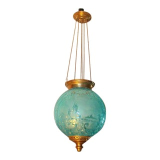 C1890 Antique Napoleon III Baccarat France Fully Documented Blue Crystal Pictoral Electrified Oil Lantern For Sale