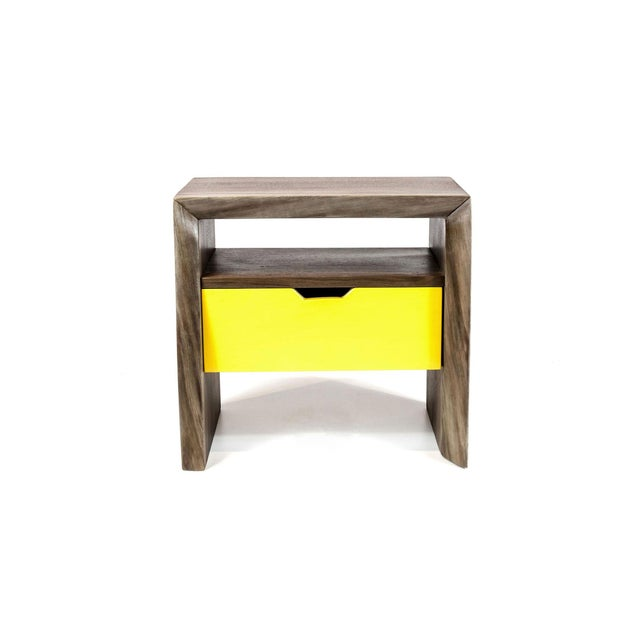 Live Edge Nightstand with Yellow Drawer - Image 3 of 8