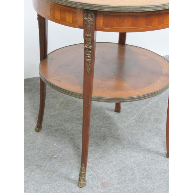 Marble Grosfeld Marble Top Satinwood Inlaid Center Table For Sale - Image 7 of 9