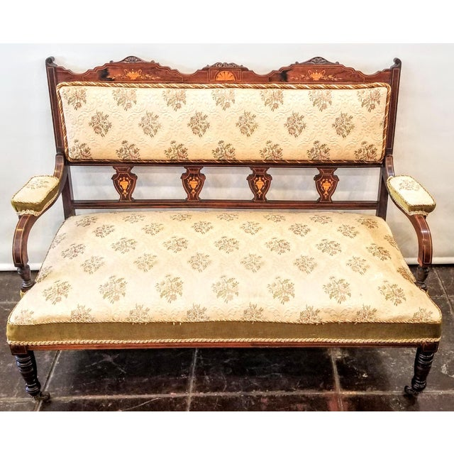 Edwardian English Edwardian Adam Style Marquetry Salon Settee For Sale - Image 3 of 13