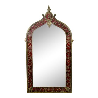 1920s German Art Deco Oscar Bach Large Ornate Bronze Red Painted Wall Mirror For Sale