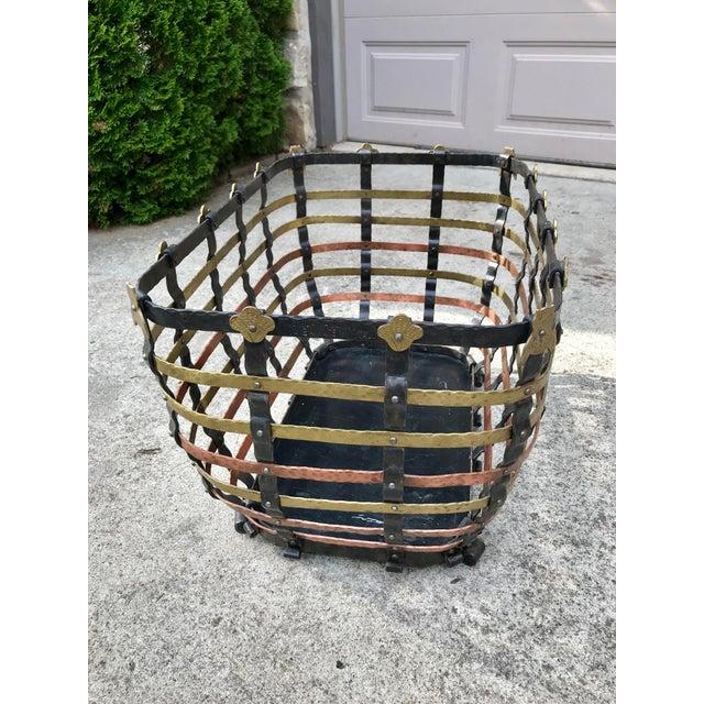 Mediterranean Vintage Mid Century Antonio Vignola Italy Storage / Fire Wood Basket For Sale - Image 3 of 13