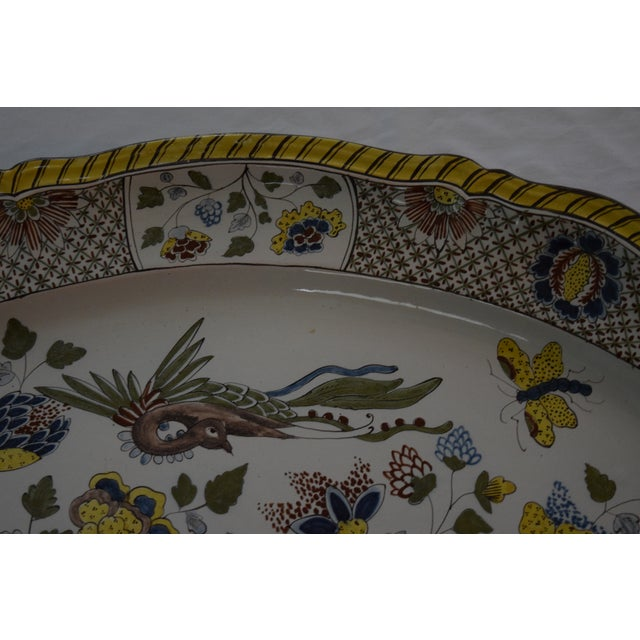Ceramic Faience Yellow and Blue Floral Design With Bird Platter For Sale - Image 7 of 8