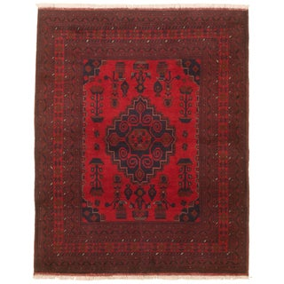 """Hand-Knotted Afghan Tribal Rug- 5'1"""" X 6'5"""" For Sale"""
