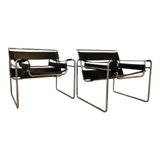 Mid-Century Wassily Style Black Leather Side Chairs - a Pair