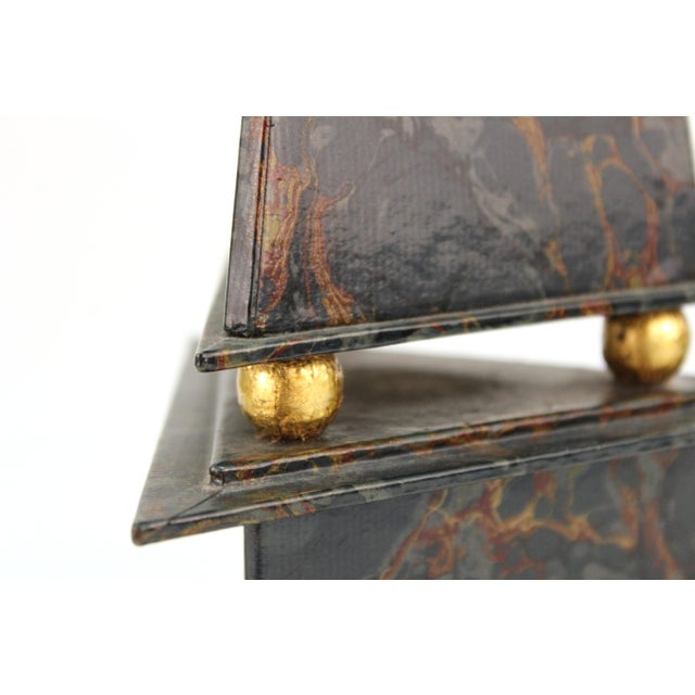 Mid 20th Century Neoclassical Style Obelisks in Marbled Paper and Gold Foil - a Pair For Sale - Image 5 of 11