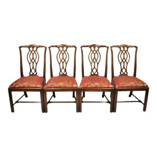 Set of 4 Mahogany Chippendale Style Dining Side Chairs Attributed to Bernhardt For Sale