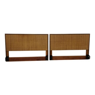 1960s Mid-Century Modern Cane Knoll Associates Headboards - a Pair For Sale