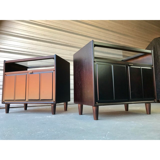 Restored Mid Century Modern Dark Walnut & Glass Top End Tables For Sale - Image 9 of 9