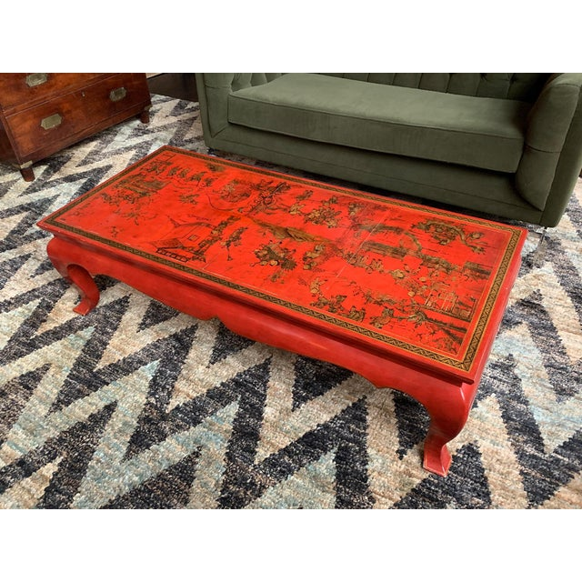 Early 20th Century Chinese Red Lacquer & Gilt Low Coffee Table For Sale - Image 5 of 13