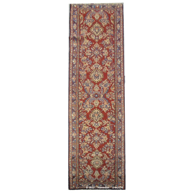 Vintage Persian Hamedan Rug - 2'9'' X 12'6'' For Sale
