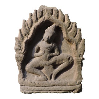 Cambodian Carved Stone Apsara For Sale