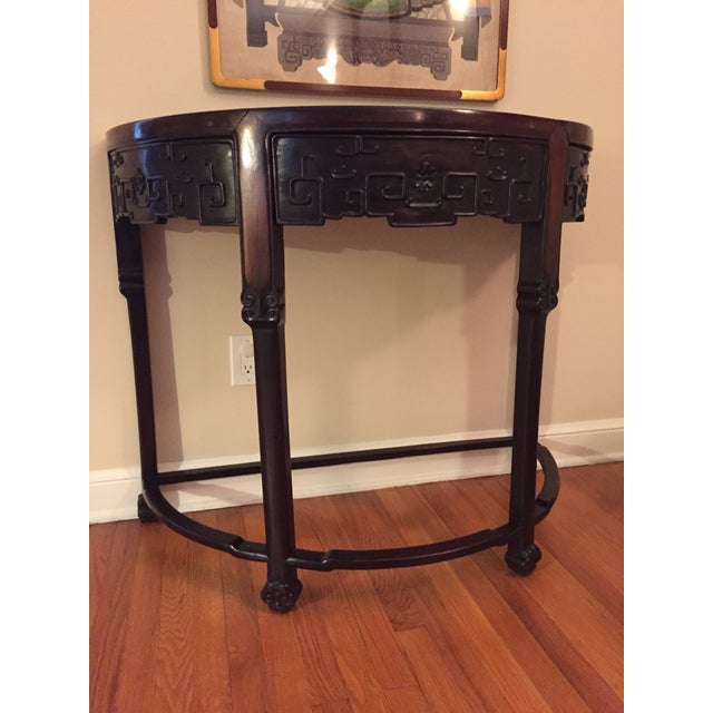 Demi-Lune console from late 1800. Rosewood. Perfect entry piece. Imported from China. Bought at dealer in Scarsdale 30...