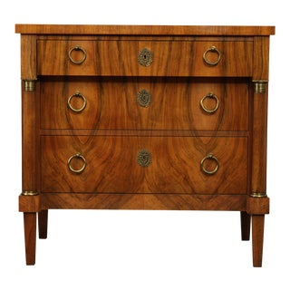 Baker French Empire Style Vintage Walnut Commode Chest of Drawers For Sale