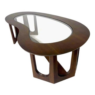 1960s Mid-Century Modern Freeform Amoeba Biomorphic Glass & Wood Coffee Table For Sale
