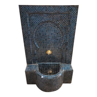 Petrol Blue Moroccan Mosaic Tile Fountain For Sale