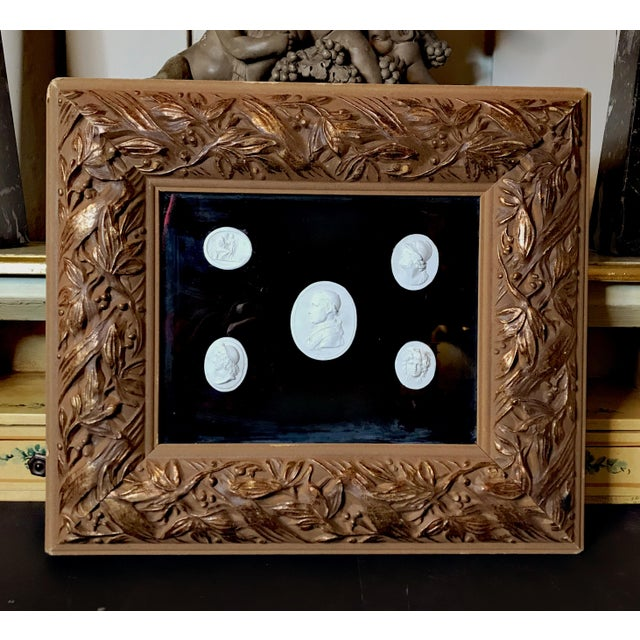 Antique Italian Grand Tour Plaster Cameo and Intaglio Arrangement, Framed For Sale - Image 12 of 12